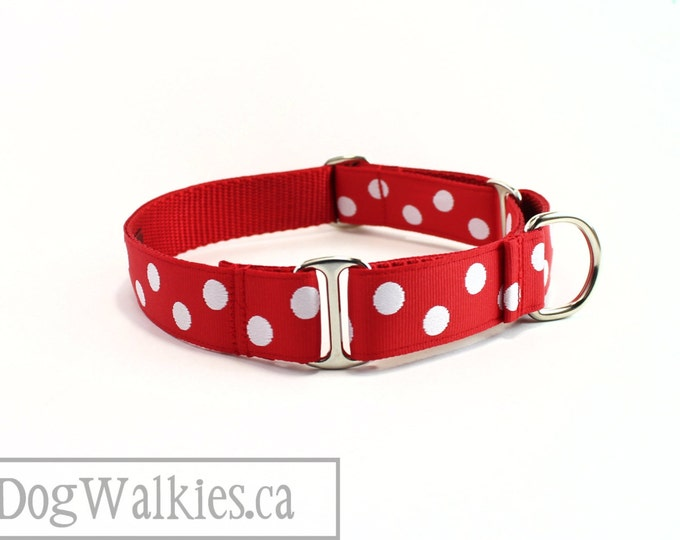 "Featured listing image: White Spot Dog Collar - 1"" (25mm) Wide - Red Polka Dot Dog Collar - Martingale or Quick Release - Choice of collar style and size"