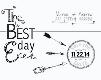 Best Day Ever. Funny Wedding invite or Save the Date. Vintage Hipster Save the Date. 5x7 Unique Card or Invitation DESIGN ONLY