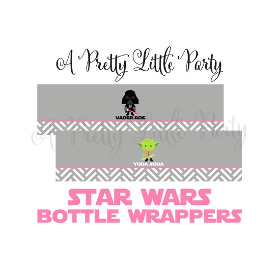 Star Wars Bottle Wrappers in pink  - Digital files - Party Supplies - INSTANT DOWNLOAD