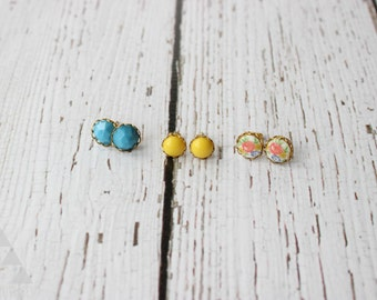 three sets of post earrings - vintage floral milk glass + yellow dot + blue faceted stone
