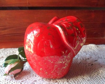 Red Apple Wall Pocket, California Pottery Planter, Bright Red Apple Wall Vase