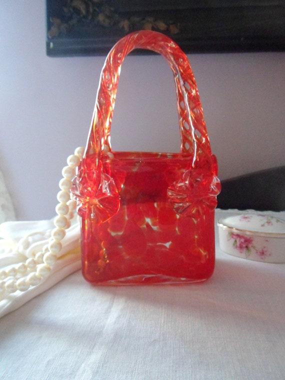 Red Murano Purse Vase Tortoise Art Glass Hand Blown Handbag