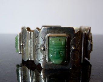 SALE Vintage Silver Native American Large HEAVY Interesting Bracelet with Carved Jade Faces