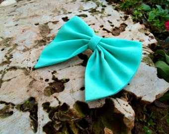 Unique mint BIG hair bow, spring hair bow