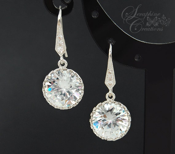 Bridal Earrings Wedding Jewelry Cubic Zirconia Vintage Round Drops Dangle Sparkly Crystal Rhodium Plated