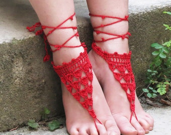Barefoot sandles, Red Nude shoes, lace up sandals, Wedding Sandals, Sexy, Yoga, Anklet , Bellydance, Steampunk, Beach Wedding