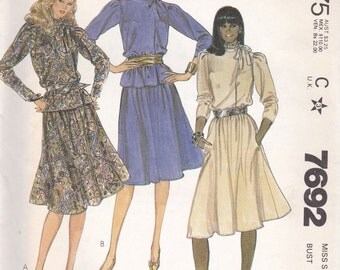 80s Asymmetrical Blouse & Skirt Pattern McCalls 7692 Size 12 Uncut