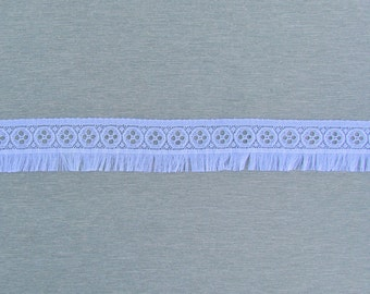 Vintage lace with fringe made in France, 1950's off white lace edge trim with fringe
