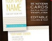 Custom Business Card Design Set- 2-Sided Minimal Chevron DIY Template Business Card Set - Retro Geometric ZigZag Aqua Customizable