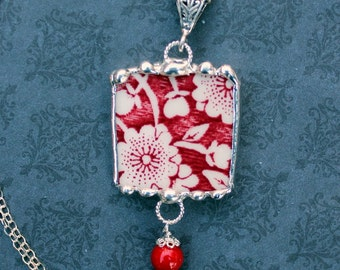 Necklace, Broken China Jewelry, Broken China Necklace, Calico Red, Red Transferware, Sterling Silver