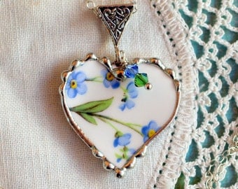 Necklace, Broken China Jewelry, Broken China Necklace, Heart Pendant, Forget Me Not China, Sterling Silver, Soldered Jewelry