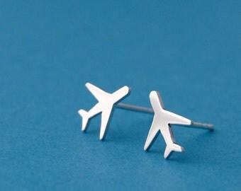 Airplane earrings sterling silver airplane stud earrings jet lag
