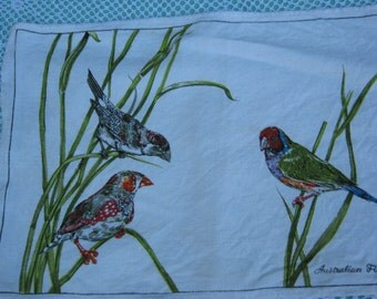 Set of 4 1970s Vintage Australian Finches Table Mats