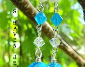 ocean blue mother of pearl bead and Swarovski crystal earrings, handmade, ready to ship, gifts for her, gifts for mom, gifts for women