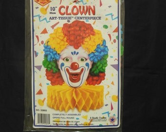 Beistle Honeycomb Clown Art Tissue Centerpiece Party Decoration Unused in Package 1988