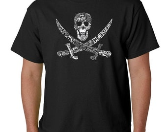 Men's T-shirt - Pirate Captains Ships and Imagery-Created using the names of Famous Pirate Captains Names of Legendary Pirate Ships