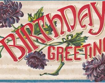 Ca. 1912 Victorian Birthday Greeting Postcard  - 1336
