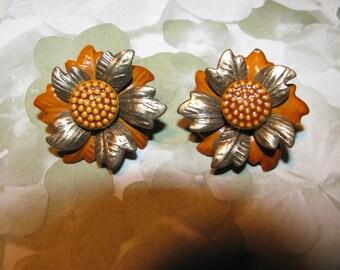 Vintage Rust Color and Brass Enamel Flower Clip On Earrings