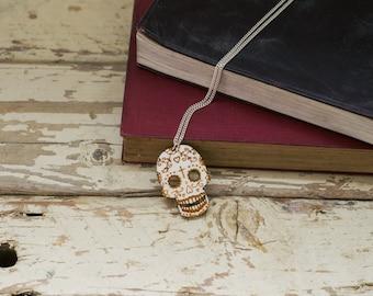 SALE Wooden Sugar Skull Necklace