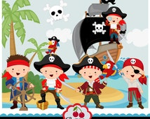 Pirate Elements_Children Pirates for boys digital clip art set-Personal and Commercial Use