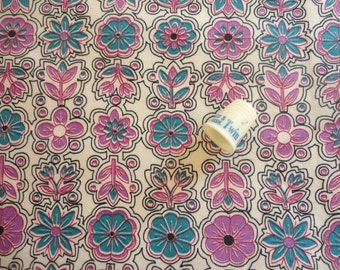 dark turquoise and fucshia floral print vintage cotton fabric -- 35 1/2 wide by 2 1/8 yards