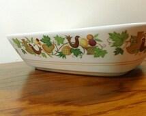 """Vintage Noritake Progression Homecoming birds & fruit pattern 9"""" Oval Vegetable Serving Bowl"""