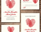 Wedding Invitation printables, Finger print Heart, Customized DIY, Thank you card, Save the date, RSVP