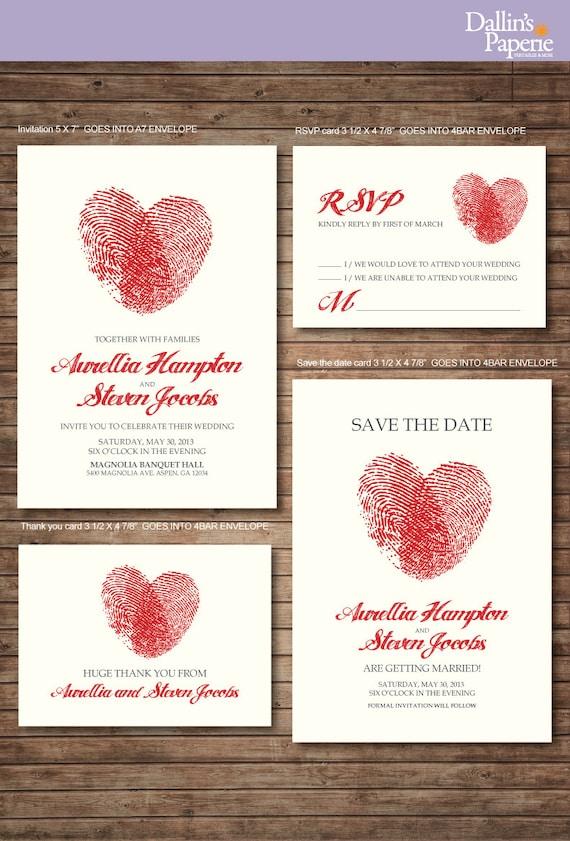 Hochzeit Einladung Ausdrucke RSVP Finger Print Herz