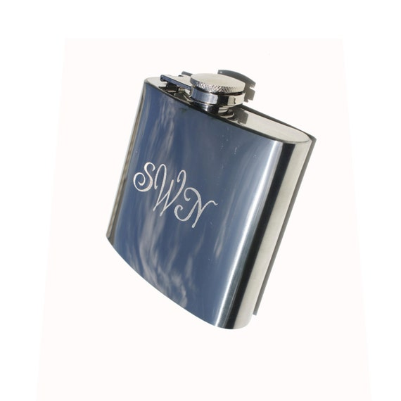 Buy 2 Get 1 Free 6oz 8oz or 12oz Monogrammed Engraved FLASK Stainless Steel Chrome  Personalized Flask ENGRAVED Monogrammed bridesmaid