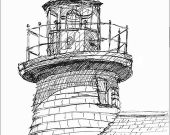 Mystic Lighthouse Connecticut Art  landscape and architecture pen and ink art print archival giclee 8.5x11 Home and Living Art Wall Hangings