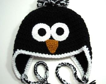 Little Penguin Hat, Earflap Beanie with Pom-Pom