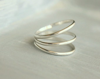 "Sterling Silver Triple Band Ring Made to Order in Your Size Three Ring Wedge ring--""Negative Space"""