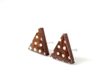 Triangle Stud Earrings, Geometric Earrings, Brown Earrings, Polka dots, Japanese Paper, Origami Paper, Decoupage, Gift under 10