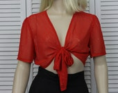 Vintage 1970s Midriff Sparkly Red Sheer Blouse 1940s Style Small/Medium