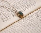 SALE! Earthy Aqua Oval Stone Necklace