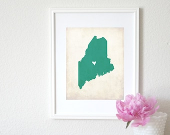 Maine Rustic State Map. Personalized Maine Map. Wedding Map. Wedding Gift. Engagement Gift. Family Map Art. Home Gift. Art Print 8x10.