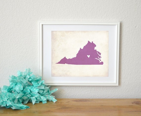Virginia Love State Map Customizable Art 8x10 Print.