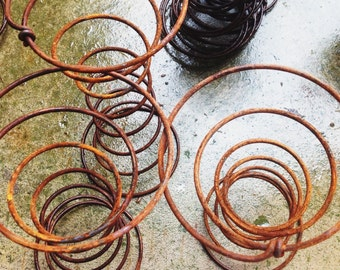 """6 Large Antique Coil Bed Springs 9.5"""" or 8.25"""" Rusty Coils, Re-purpose, Prim, Candle Holders"""