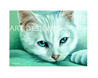 ACEO Cat Art Print, Blue Eyed White Cat, Kitten, Cat Pastel Art, Archival Art Print, SFA, Small Format Art, Artist Trading Card, ADA-P334