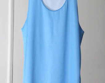 90s Baby Blue and White Blank Reversible Mesh Jersey