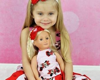 "Doll & Me Set - Red White Heart Headband Set - Baby Girl Child Valentine's Day Red Baby Headband 18"" Dolly Dollie Matching Set"