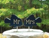 mr and mrs Fish cake topper, custom, party favor, shower favors, wedding, home decor, spring decor
