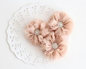 "3 pcs - BEIGE Shabby Flowers with rhinestone buttons - Chiffon Frayed Flower - Fabric Flower - 2.4"" Flowers - Wholesale Fabric Flower"