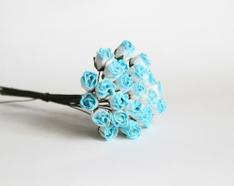 25 pcs - White & Blue Mulberry Paper Semiopen Rose buds