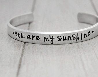 You are My Sunshine Bracelet for Kids, Childs Bracelet, Adjustable bracelet for girls, Handstamped Jewelry, Personalized Jewelry,