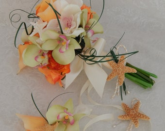 Beach Wedding Bouquet-Orchid Calla Lily Rose Starfish and Seashell Bridal Bouquet - Made To Order- SOLD