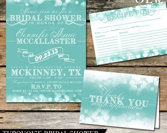 Winter Blue Bridal Shower Invitation Bridal Shower Party Printables Recipe Card Thank you Card DIY Bridal Shower Set Digital Printable