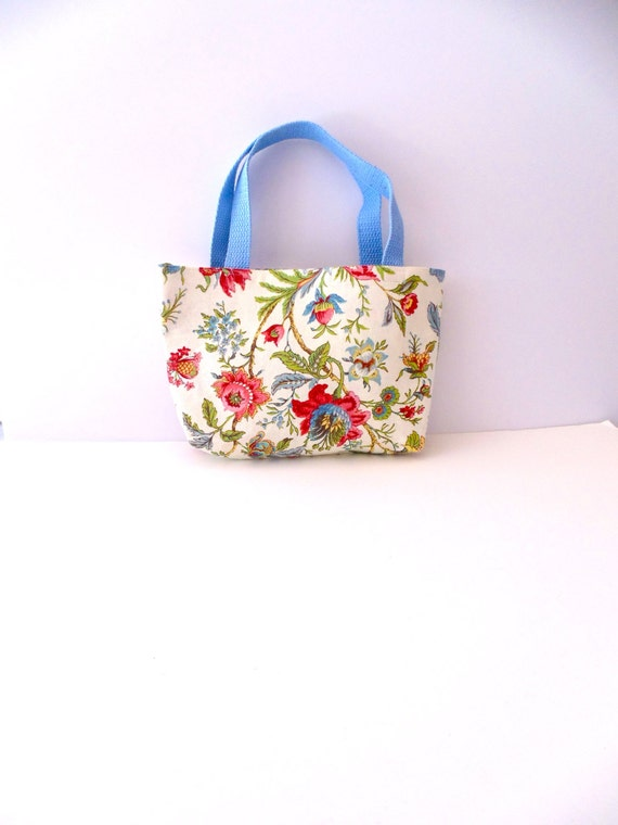 Floral Tote Bag With Light Blue Handles Floral Purse
