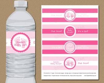 EDITABLE Water Bottle Labels - DIY Printable Pink Baby Shower Water Wrappers - Personalize in Adobe Reader  - INSTANT Download