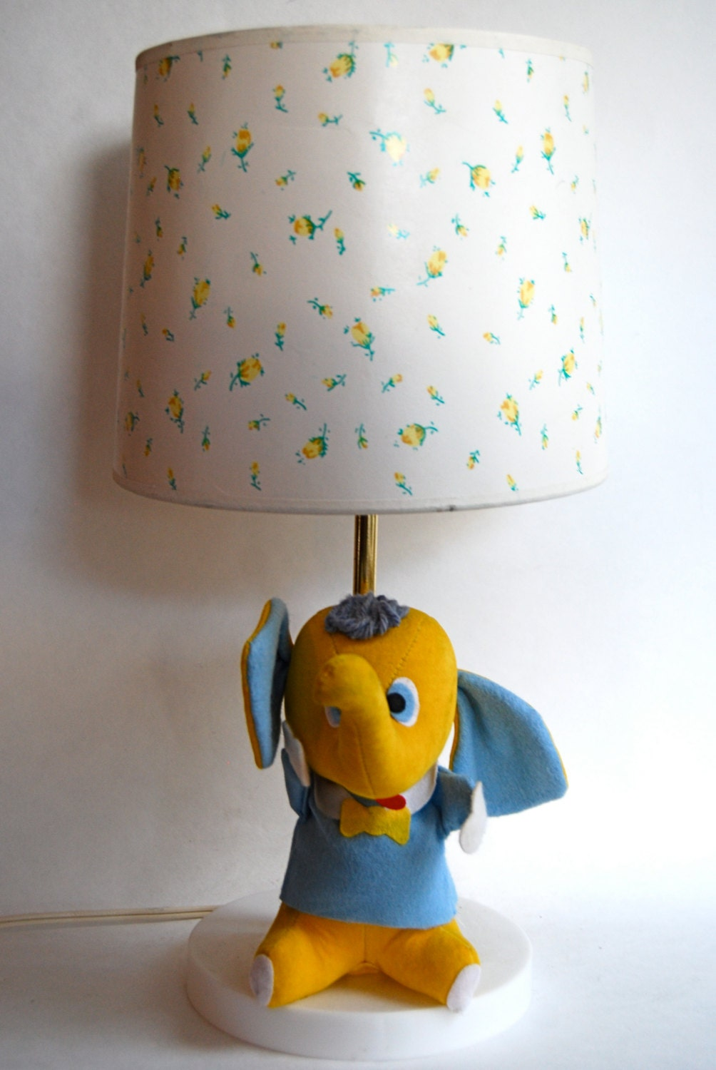 vintage plush elephant lamp retro nursery play room. Black Bedroom Furniture Sets. Home Design Ideas